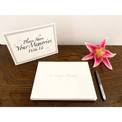 Esposti In Loving Memory Condolence Book - Open Format - Pale Ivory Cover - Size 22.8 x 17cm & Table Sign - EL57WS - 5022383773963