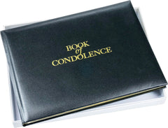 Esposti Book of Condolence - Open Format - Inside Back Cover Pocket for Cards - Presentation Boxed - Black - Size 26 x 19.5cm
