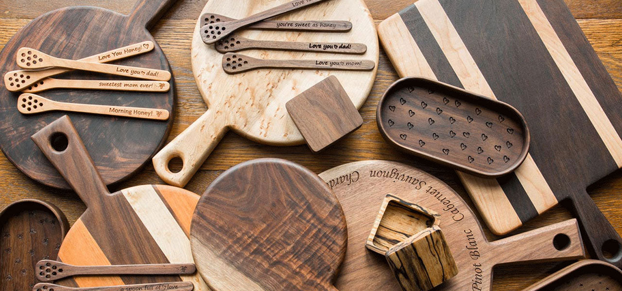 Michaels woodcrafts cutting boards, trays, honey sticks