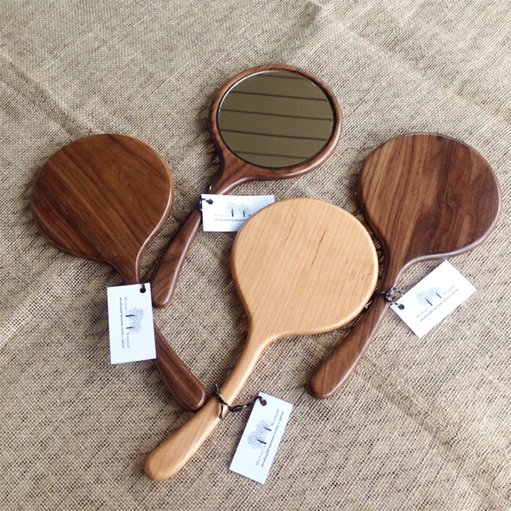wooden hand mirrors