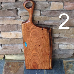 Beautiful Mesquite charcuterie board with hand carfed long handle Michael's Woodcrafts