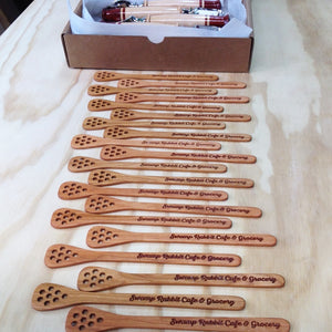 Engraved Cherry wood honey sticks Michael's Woodcrafts