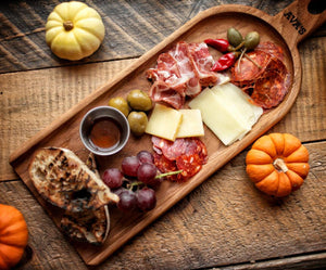 charcuterie food board with meats cheeses fruit