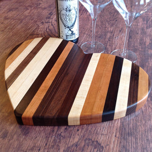Heart shaped cutting board end grain