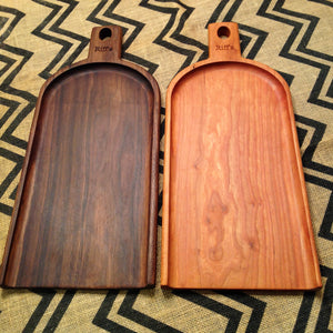 Walnut and Cherry charcuterie board with handle by Michael's Woodcrafts