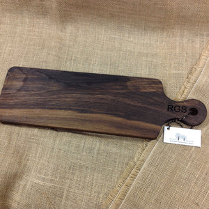 Black walnut farmers bread board with personalized engraving on handle with capital letters