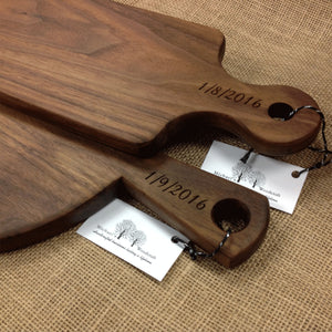 Walnut bread board with wedding date engraved on handle  by Michael's Woodcrafts Greenville SC woodworkers woodworking