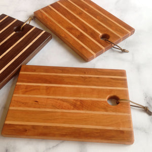 Three kitchen boards cherry with maple and walnut with maple