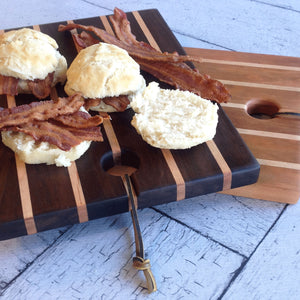 Walnut with maple kitchen board with three bacon biscuits  by Michael's Woodcrafts Greenville SC woodworkers woodworking