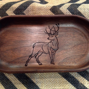 handcrafted Walnut catchall tray with buck deer engraved on the bottom  by Michael's Woodcrafts Greenville SC woodworker Woodworking artist woodworkers
