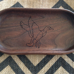 Walnut catchall tray with flying duck engraved on the bottom  by Michael's Woodcrafts Greenville SC woodworker Woodworking artist woodworkers