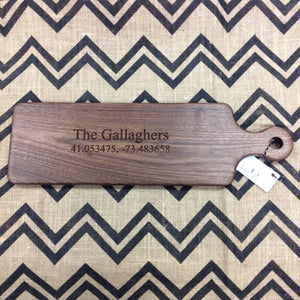 Walnut bread board with personalized engraving family name and longitude and latitude  by Michael's Woodcrafts Greenville SC woodworkers woodworking