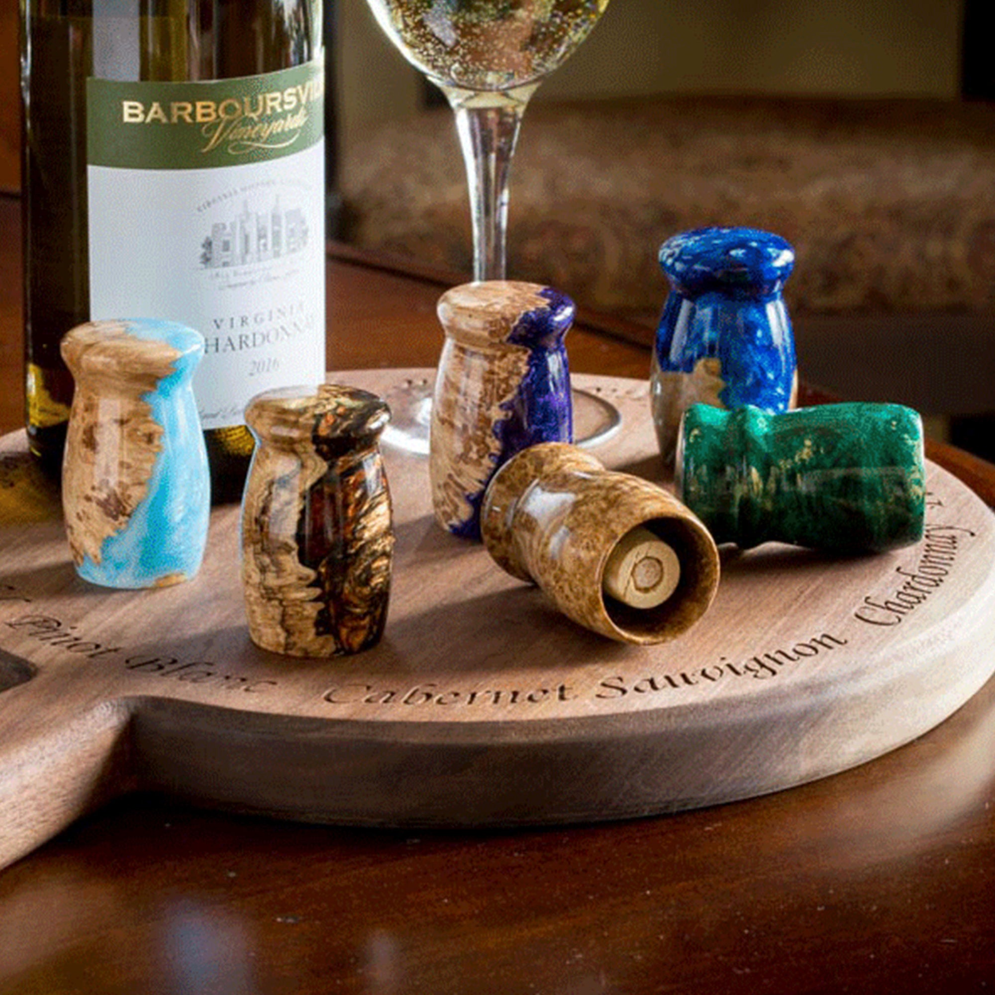Handcrafted recesseed Wine Bottle Stoppers by Michael's Woodcrafts Greenville SC woodworkers woodworking artist