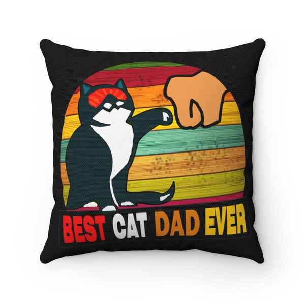 Best Cat Dad Ever Spun Polyester Square Pillow Case
