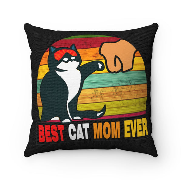 Best Cat Mom Ever Spun Polyester Square Pillow Case