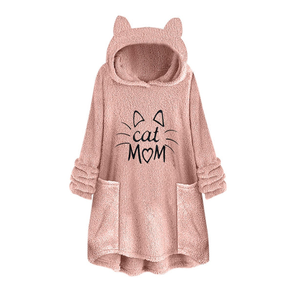 "'Cat Mom"" Over sized Hoodie with Cat Ears."
