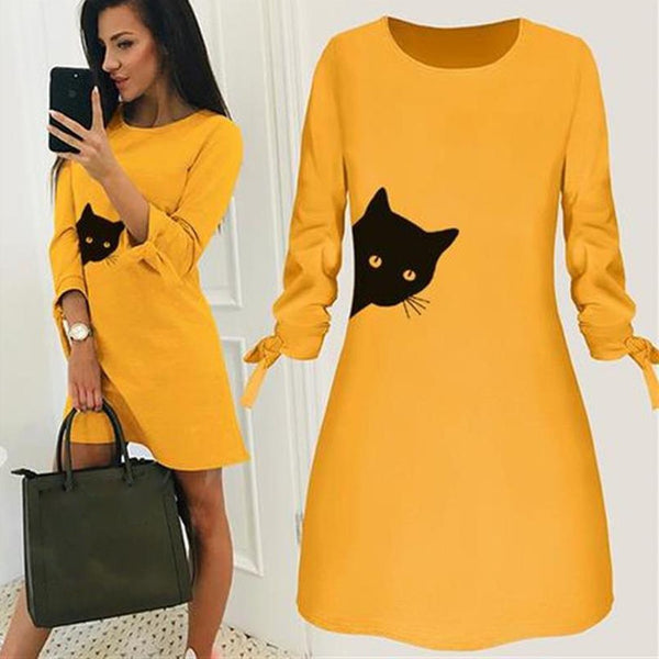 Fashionable Peaking Kitty Cat Dress.