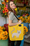 """Just Feed Me"" Siamese Cat Tote Bag"