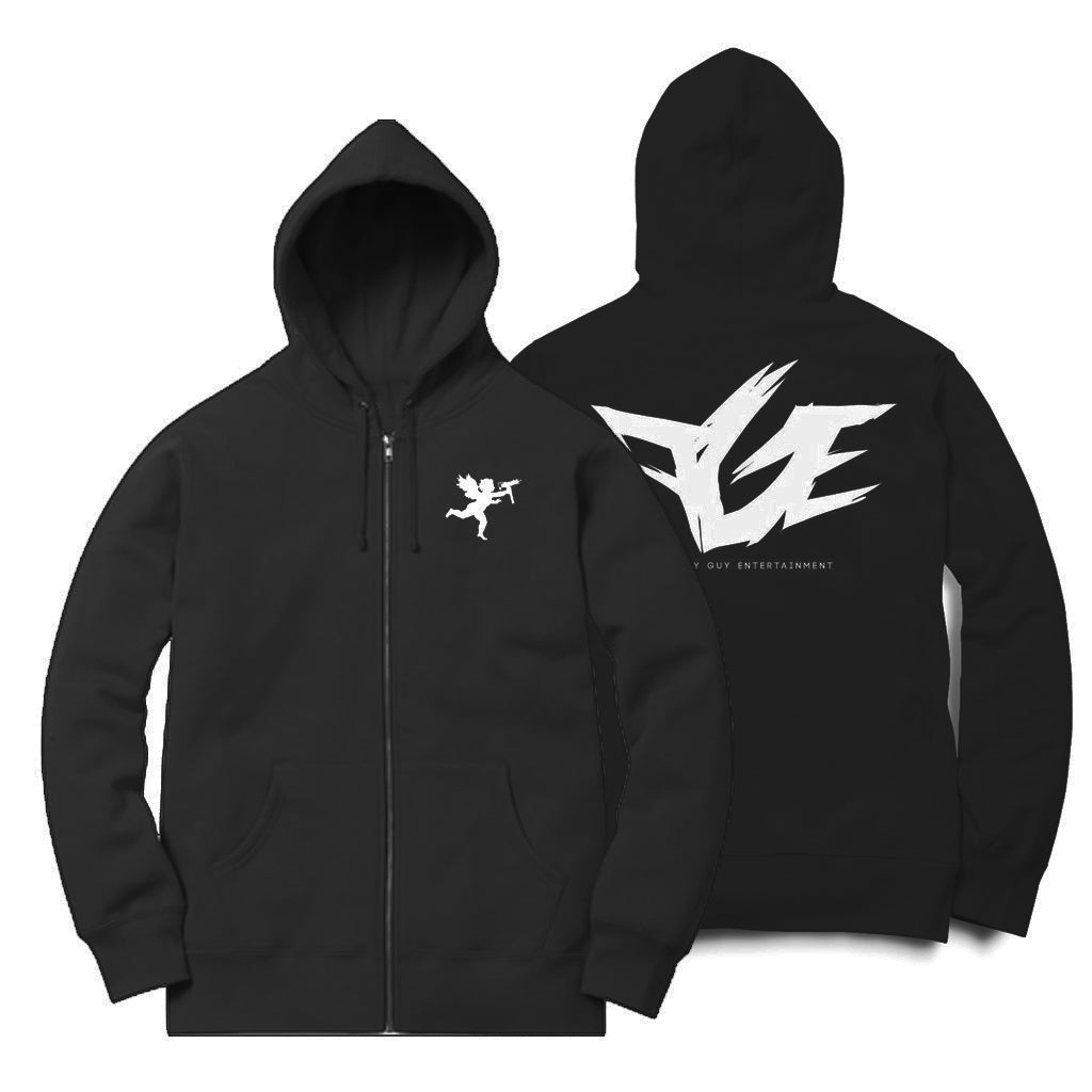 Angel With An Uzi Zip Up Hoodie (Black/White)
