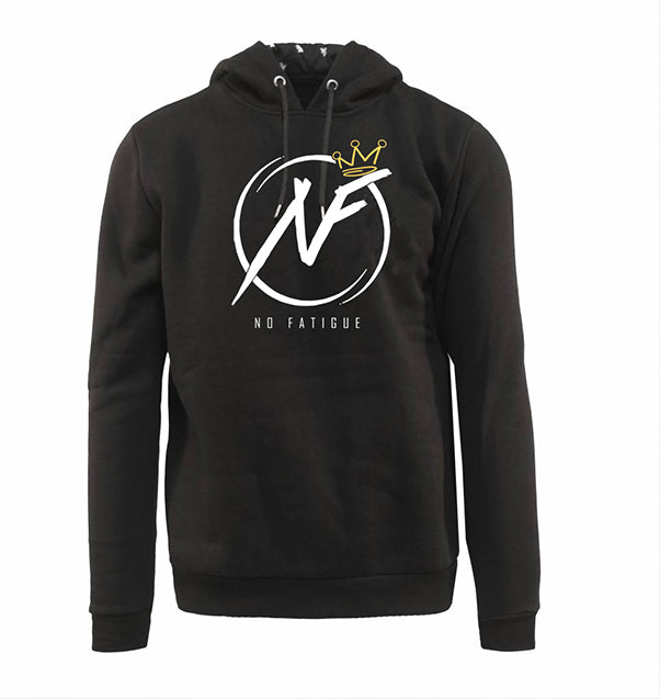 No Fatigue Classic Hoodie (Black/White/Gold)