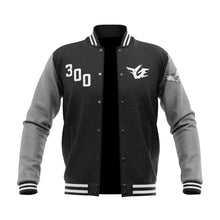 Load image into Gallery viewer, FGE Fleece Varsity Jacket (Replica) (Black/Heather Grey/White) (Pre Order)