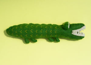 Felted Wool Alligator Dog Toy