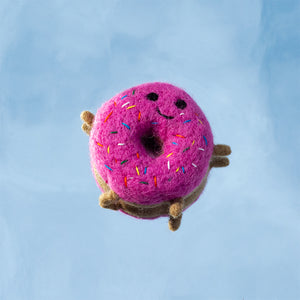 *PRE-ORDER* Felted Wool Strawberry Donut Dog Toy