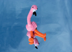 Hand Crochet Flamingo Dog Toy