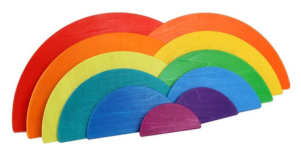 11 Piece Wooden Rainbow Semi Circle Stacker Front
