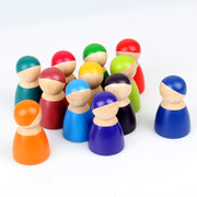 12 Piece Wooden Rainbow Peg Dolls 3