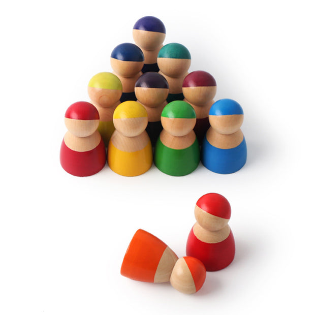 12 Piece Wooden Rainbow Peg Dolls 6