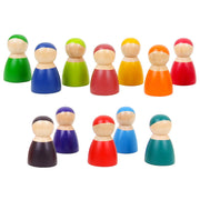 12 Piece Wooden Rainbow Peg Dolls a
