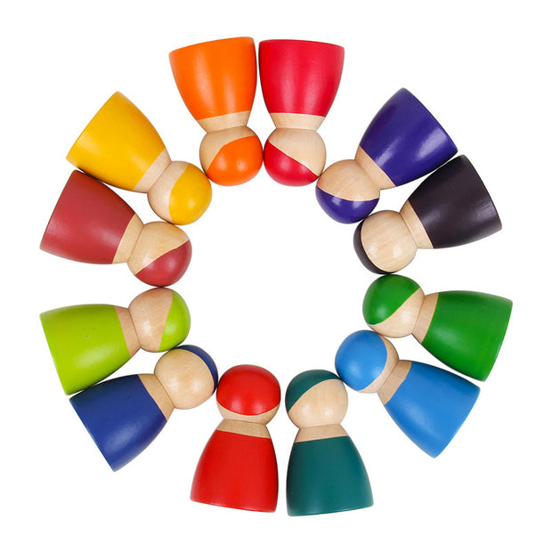 12 Piece Wooden Rainbow Peg Dolls in circle