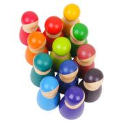12 Piece Wooden Rainbow Peg Dolls together