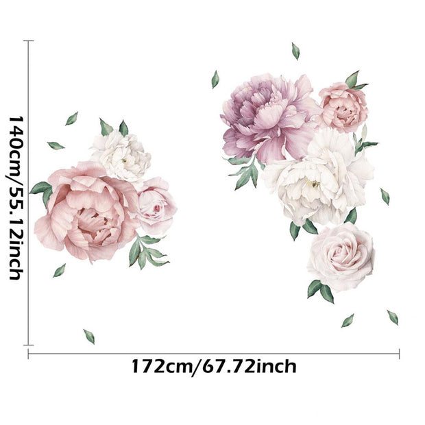 140-172 cm Huge Peony Flowers Wall Stickers Size