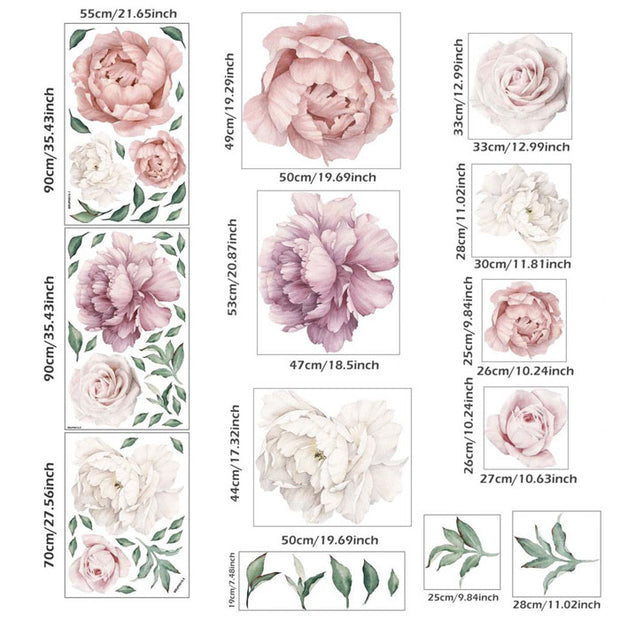140-172 cm Huge Peony Flowers Wall Stickers detailed size