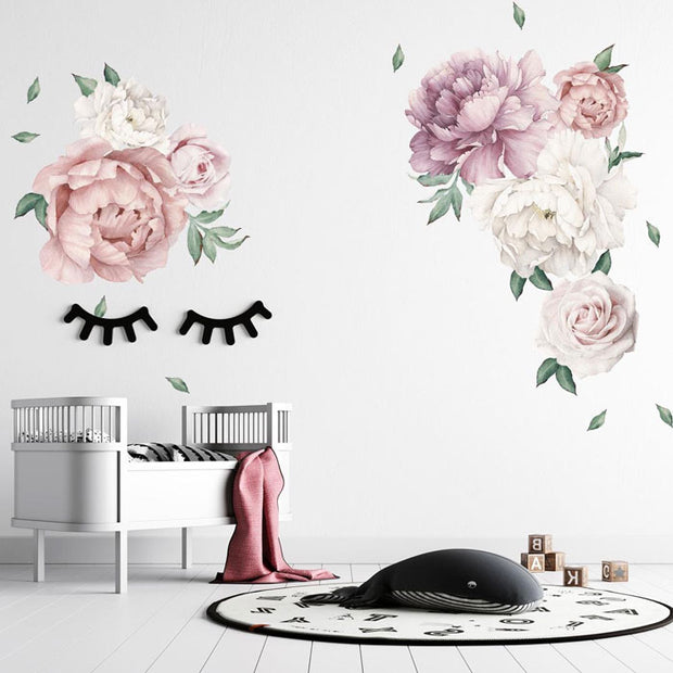 140-172 cm Huge Peony Flowers Wall Stickers in baby nursery