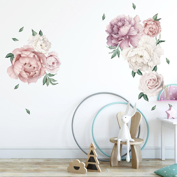 140-172 cm Huge Peony Flowers Wall Stickers in kid's room