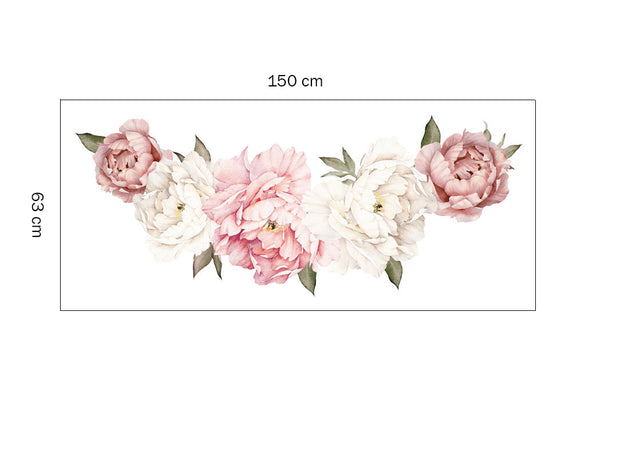 150-63 cm XL Peony Flowers Baby Nursery & Kid's Room Wall stickers size dimensions