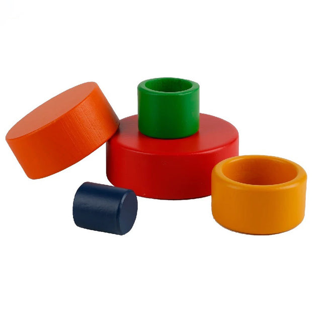 5 Piece Wooden Colorful Stacking Bowls 1