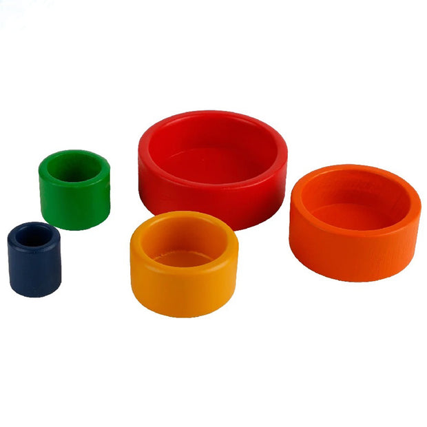 5 Piece Wooden Colorful Stacking Bowls