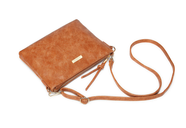 Aaryaa Nappy Clutch - Tan