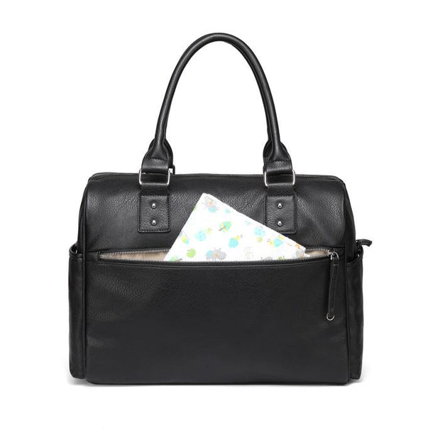 Adele All In One Black Nappy Bag back with zipper open