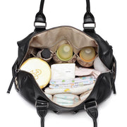 Adele All In One Black Nappy Bag inside with items