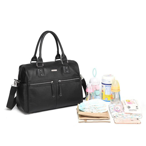 Adele All In One Black Nappy Bag with items