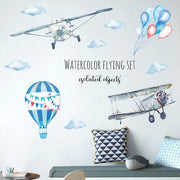 Airplane and Hot Air Balloon Nursery Wall Sticker