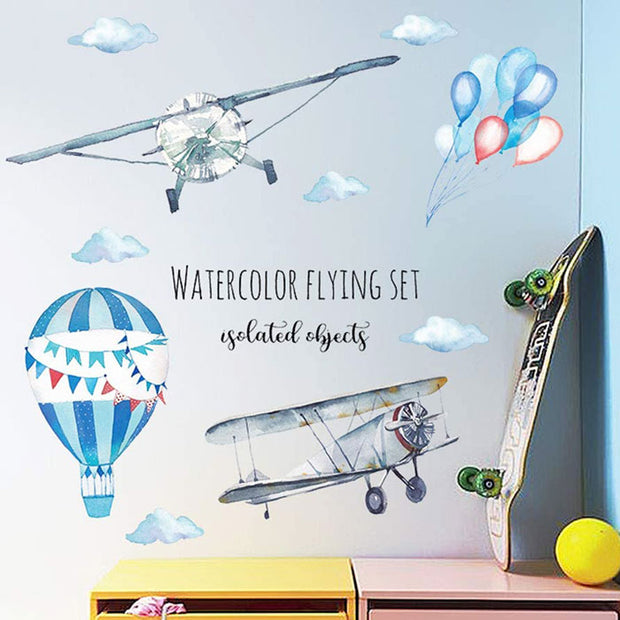 Airplane and Hot Air Balloon Nursery Wall Sticker front