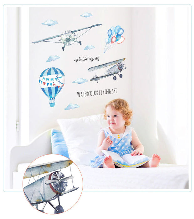 Airplane and Hot Air Balloon Nursery Wall Sticker with baby