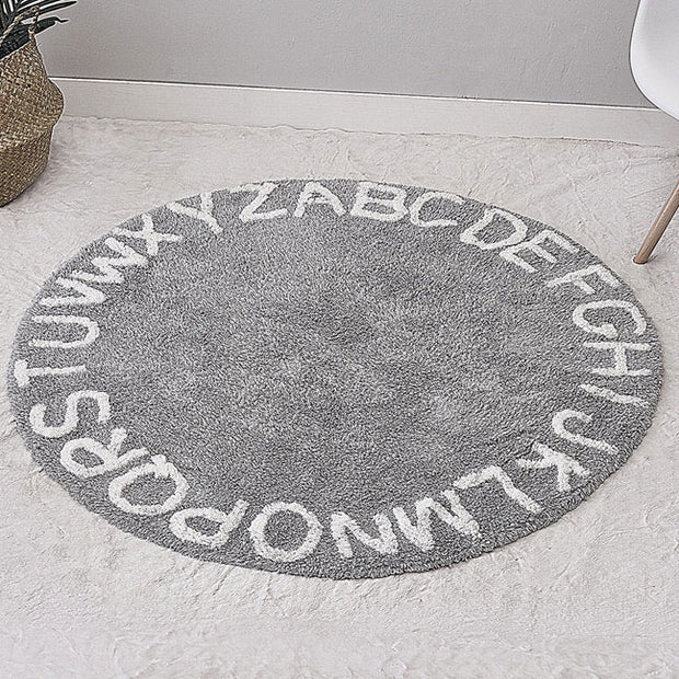 Alphabet Round Grey Cotton Baby Play Mat 120 x 120 cm front