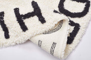 Alphabet Round Off White  Cotton Baby Play Mat 120 x 120 cm closeup